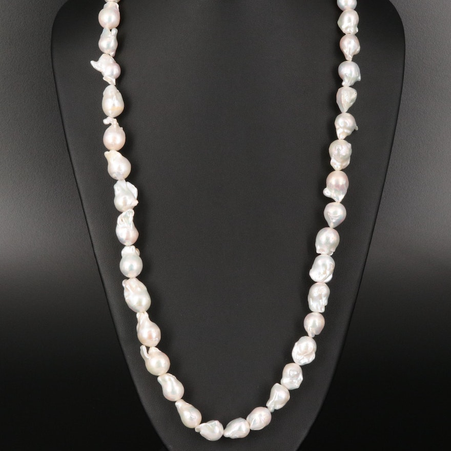 """Baroque Pearl Necklace with """"Baroque"""" Sterling Clasp"""