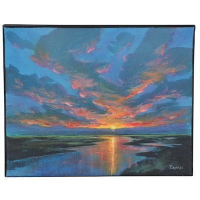 "Douglas ""Bumo"" Johnpeer Oil Painting of Sunset, 2021"