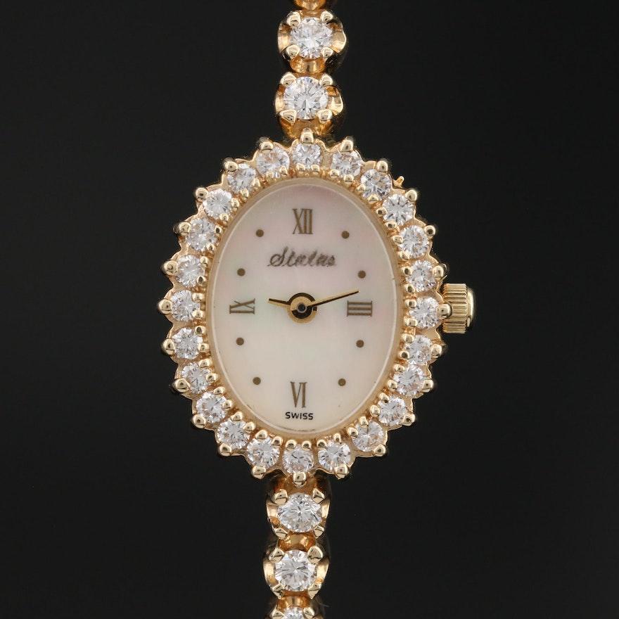 Status 14K Yellow Gold 2.00 CTW Diamond Quartz Wristwatch
