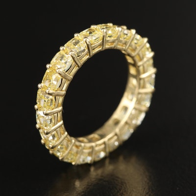 18K 5.06 CTW Yellow Diamond Eternity Band with GIA Report