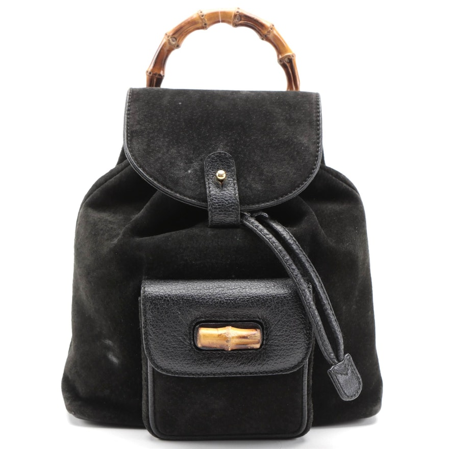Gucci Bamboo Small Backpack Purse in Black Suede and Leather