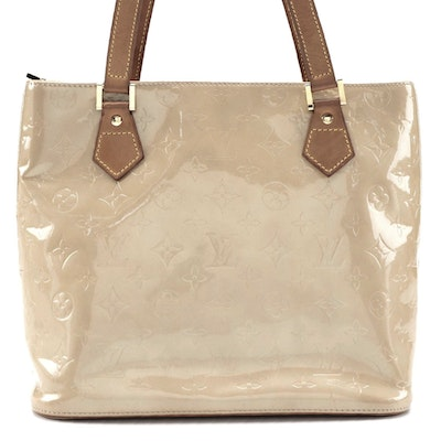 Louis Vuitton Houston Bag in Beige Monogram Vernis and Vachetta Leather