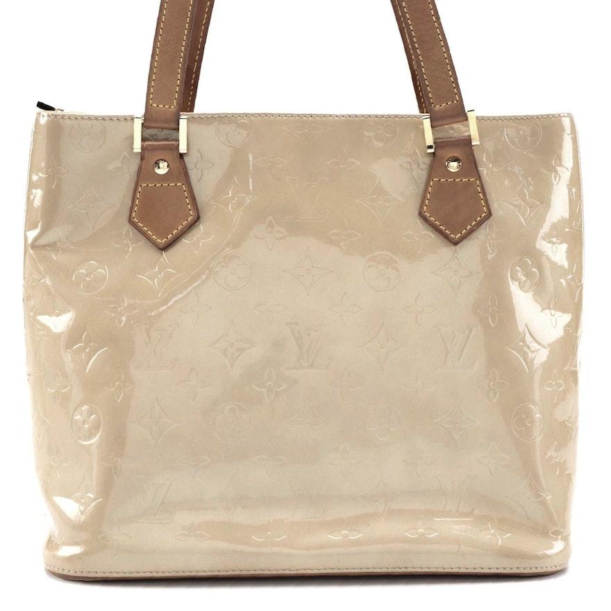 Louis Vuitton Houston Bag in Beige Monogram Vernis and Vachetta Leather