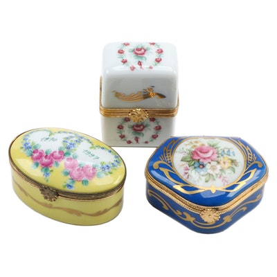 Artoria and Other Hand-Painted Limoges Porcelain Boxes, Mid to Late 20th C.