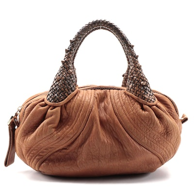 Fendi Mini Spy Top Handle Bag in Brown Grained Leather with Woven Handles