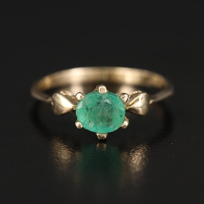 14K Emerald Solitaire Ring with Heart Accented Shoulders