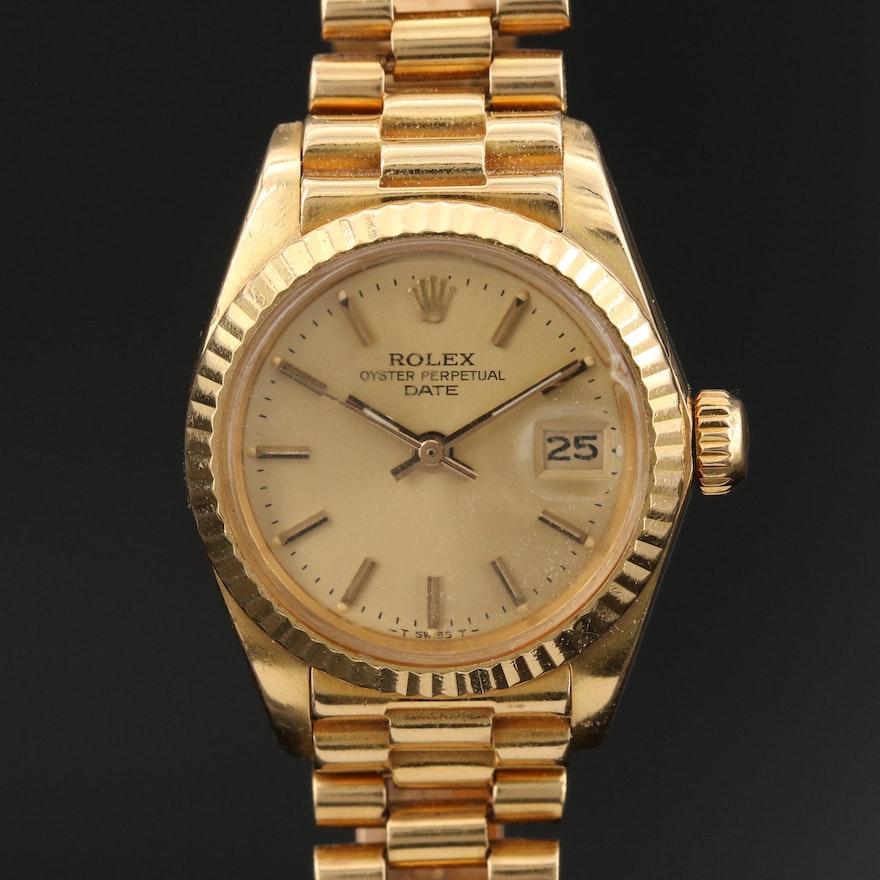 1982 Rolex Date 18K Yellow Gold Automatic Wristwatch