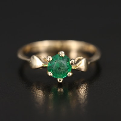 14K Faceted Glass Solitaire Ring with Heart Accented Shoulders
