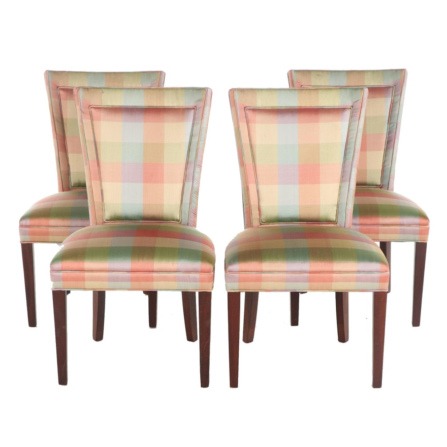 Hickory Chair Upholstered Flair Back Side Chairs, Late 20th Century