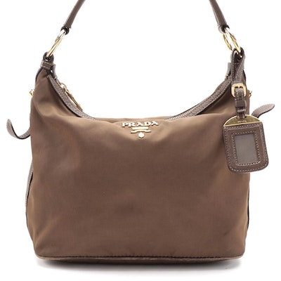 Prada Brown Nylon Shoulder Bag with Leather Trim