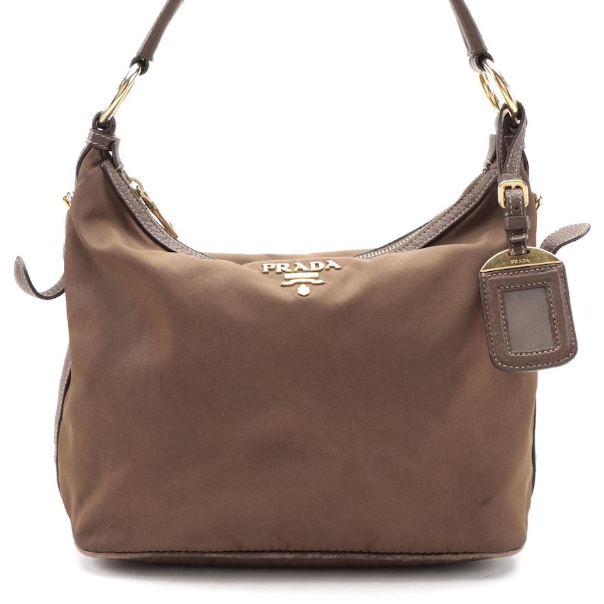 Prada Brown Nylon Shoulder Bag with Leather Trim