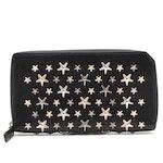 Jimmy Choo Star Studded Black Leather Zip Wallet