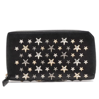 Jimmy Choo Star Studded Black Leather Zip Wallet