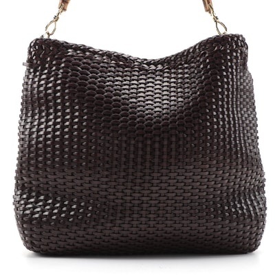 Gucci Bamboo Basket Woven Brown Leather Tote