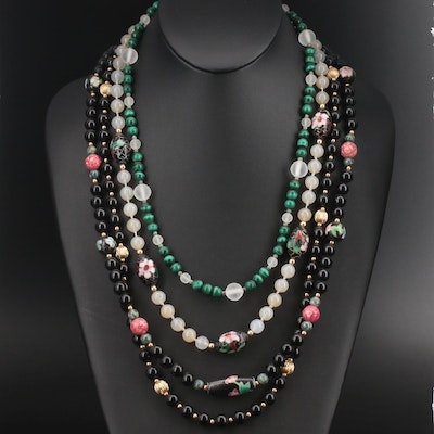 Cloisonné Necklace and More Including Black Onyx and Malachite