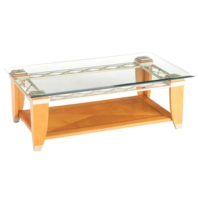 Contemporary Maple, Inlaid Wood, Metal and Glass Coffee Table