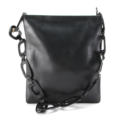 Gucci Black Leather Chain-Link Strap Shoulder Bag