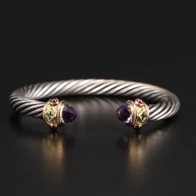 "David Yurman ""Renaissance"" Sterling Amethyst and Gemstone Torque with 14K Caps"