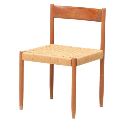 Modernist Teak and Paper Cord Side Chair, Mid to Late 20th Century