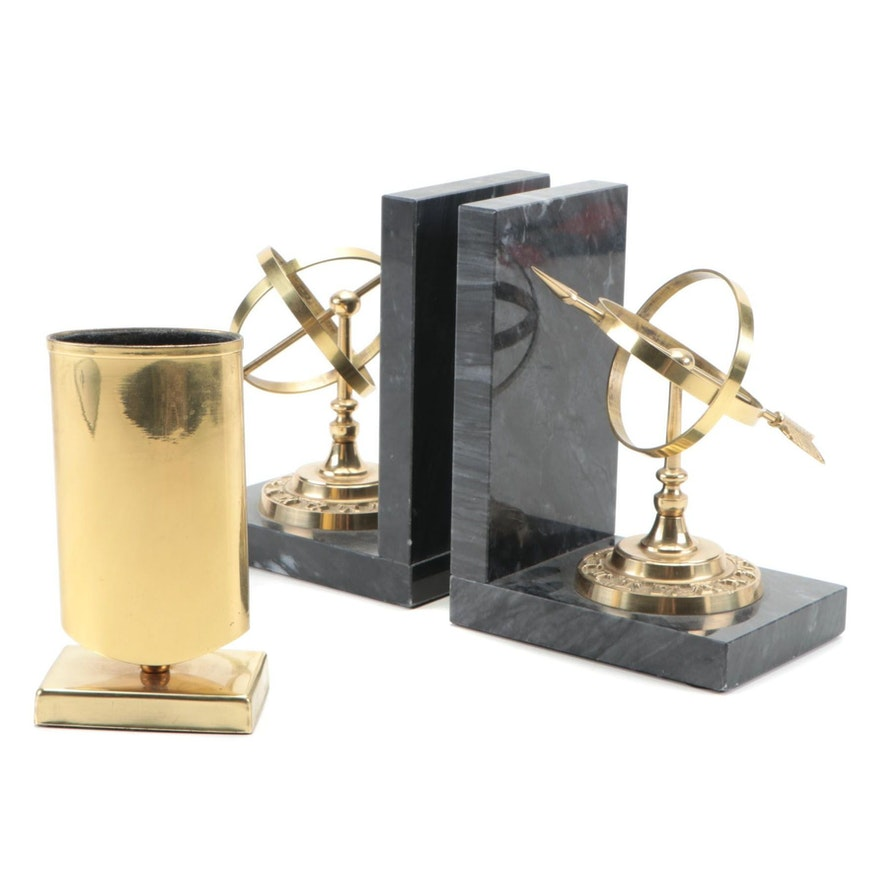 Armillary Sundial Brass and Marble Stone Bookends with Brass Pen Cup