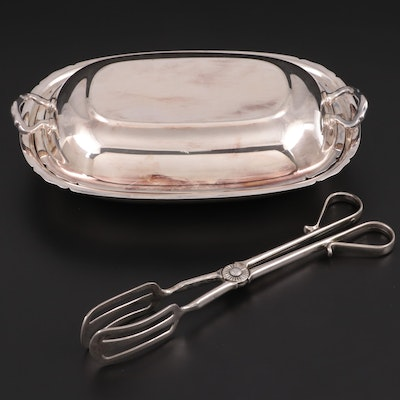 "Reed & Barton ""Mayflower"" Silver Plate Vegetable Bowl and Other Tongs"