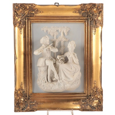 Sandizell, Höffner and Co Alt Meissen Art Bisque Porcelain Plaque, Vintage