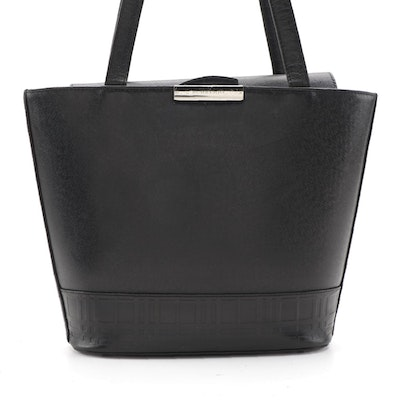 Burberry Black Leather Shoulder Bag with Embossed Trim