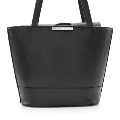 Burberry Black Leather Shoulder Bag with Embossed Trim