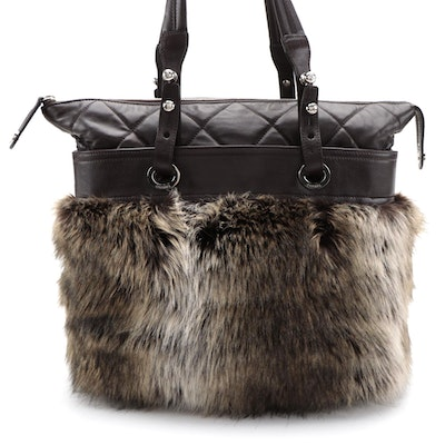 Chanel Fantasy Fur Shopping Tote in Quilted Brown Lambskin Leather