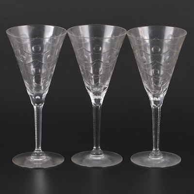 Patterned Etched Wine Glasses