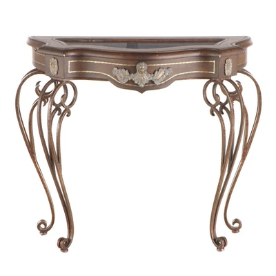 Louis XV Style Patinated Metal and Faux-Leather Serpentine Vitrine Table