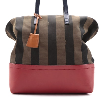 Fendi Colorblock Tote in Tobacco Pequin Striped Canvas and Leather