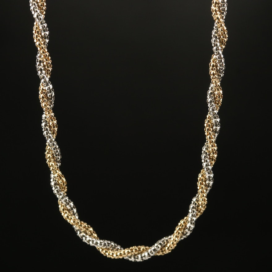 Italian 14K Two-Tone Twisted Popcorn Chain Necklace
