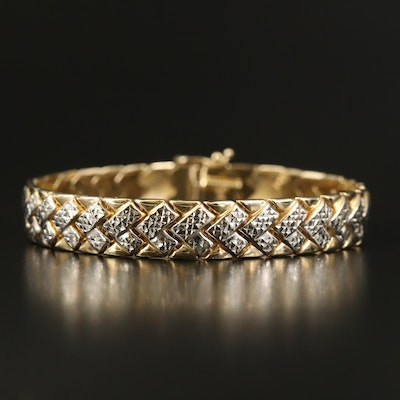 14K Two-Tone Gold Diamond Cut Bracelet