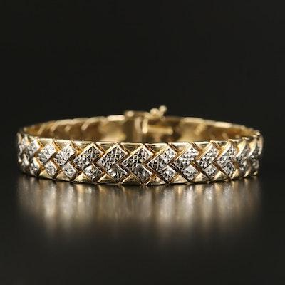 14K Two-Tone Gold Diamond Cut Bracelet