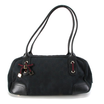 Gucci Princy GG Black Canvas and Leather Shoulder Bag