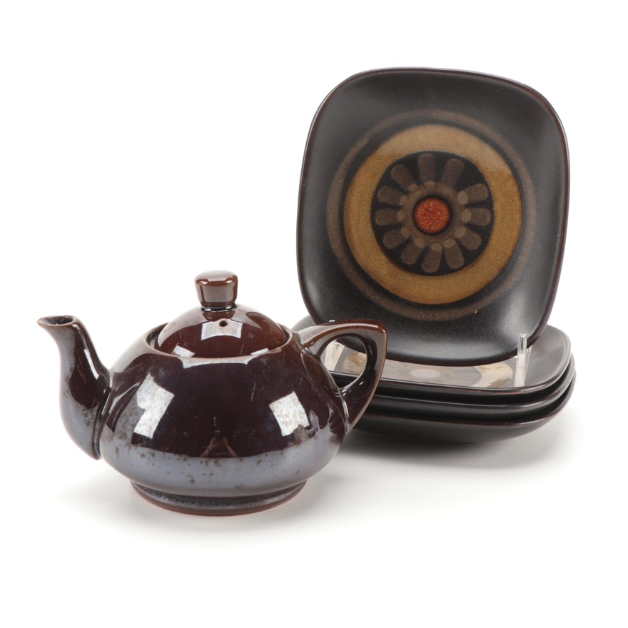 """Denby-Langley """"Samarkand Brown"""" Square Plates and Other Brown Glazed Teapot"""