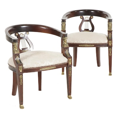 Pair of French Empire Style Gilt-Metal Mounted Mahogany Lyre-Back Armchairs