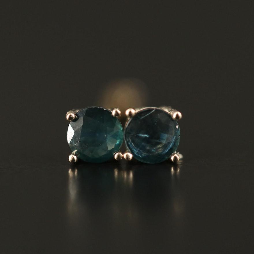 14K Sapphire Solitaire Stud Earrings