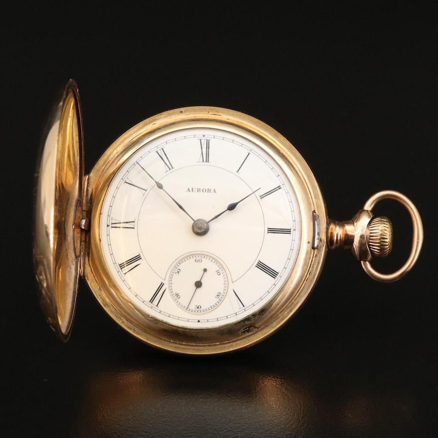 1886 Aurora Gold Filled Hunting Case Pocket Watch