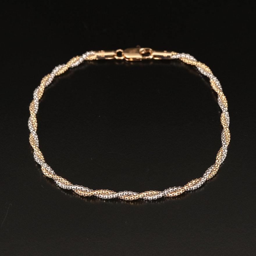Italian Two-Tone 14K Gold Twisted Popcorn Link Bracelet