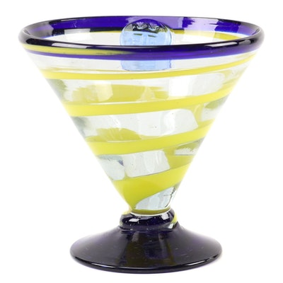 Kosta Boda Royal Caribbean Handblown Striped Martini Glass