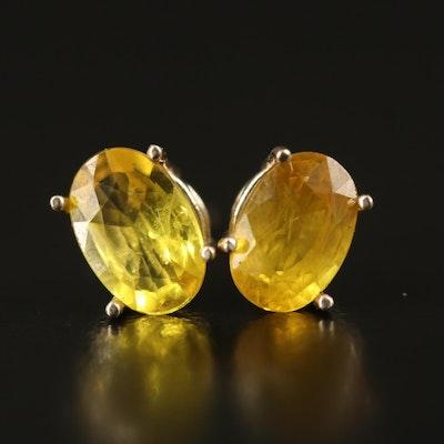 Pairing of Two 14K 3.50 CTW Sapphire Single Stud Earrings