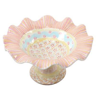 "MacKenzie-Childs ""Summer Frock"" Ceramic Ruffled Rim Compote"
