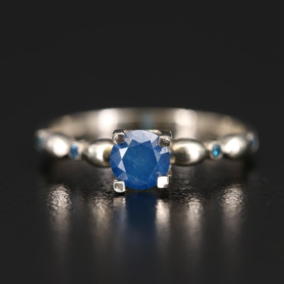 14K Blue Diamond Ring