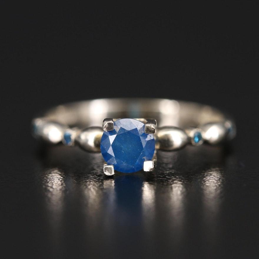 14K Blue Diamond Ring