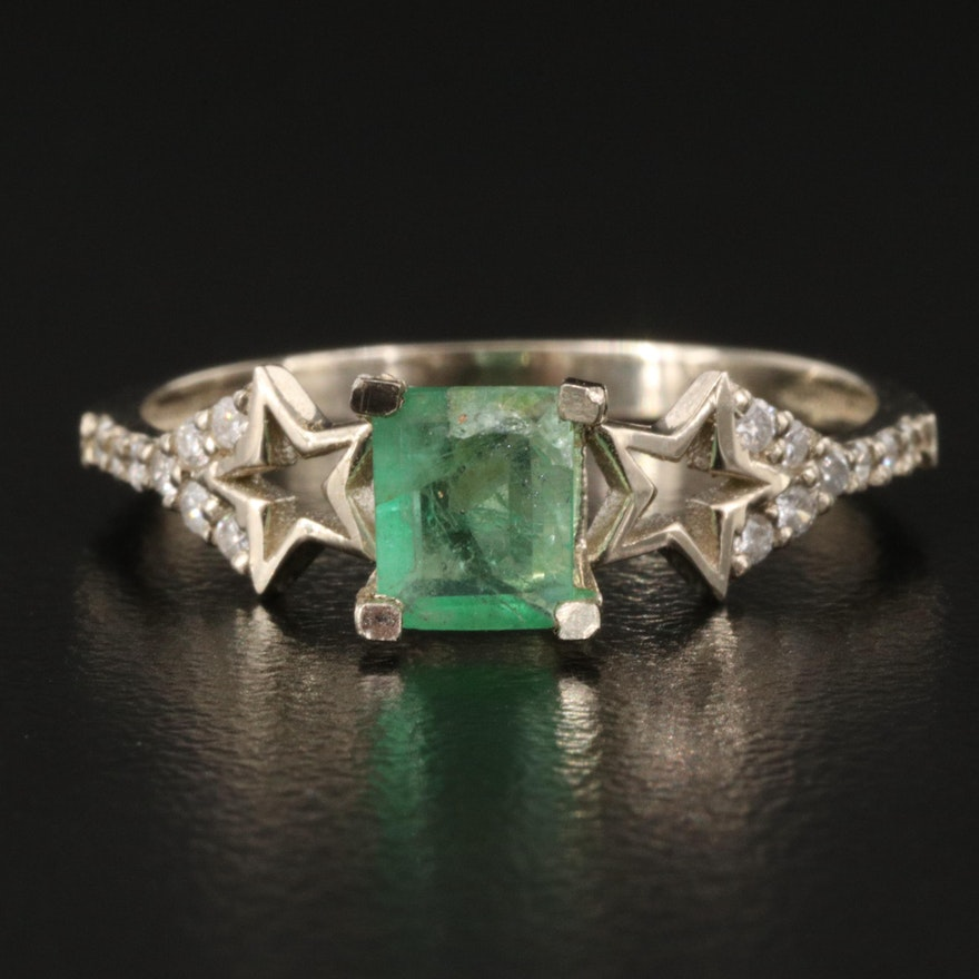 14K Emerald and Diamond Ring with Star Shoulders
