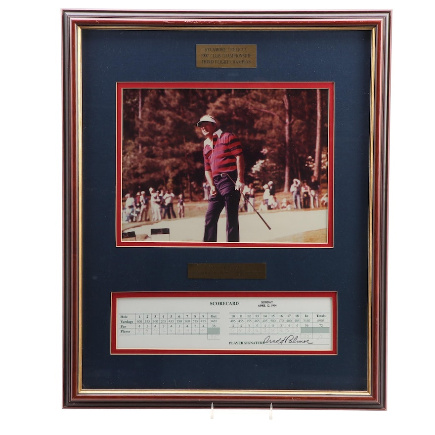 """Arnold Palmer """"Masters Champion 1958, 1960, 1962, 1964"""" Signed Display"""