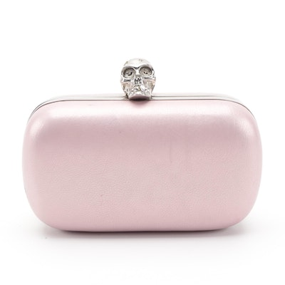 Alexander McQueen Skull Box Clutch in Pink Pearlized Leather