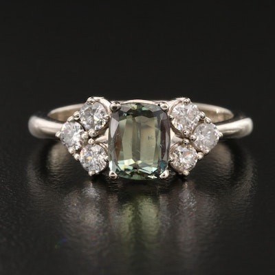 14K 0.99 CT Alexandrite and Diamond Ring